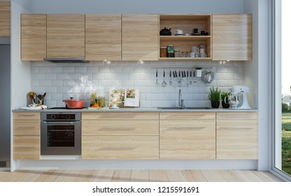 3d rendering kitchen