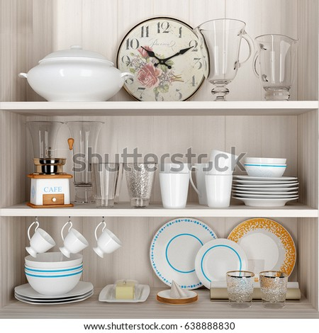 3 D Rendering Kitchen Set Stock Illustration 638888830 Shutterstock