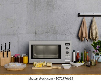 3D Rendering of Kitchen table with microwave.