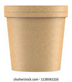 3D rendering kraft paper tub bucket container for dessert, yogurt, ice cream, sour cream, snack, butter, margarine or cheese, Mock Up Template
