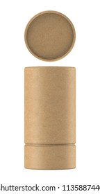 3D rendering Kraft paper tube packaging mock up on white background