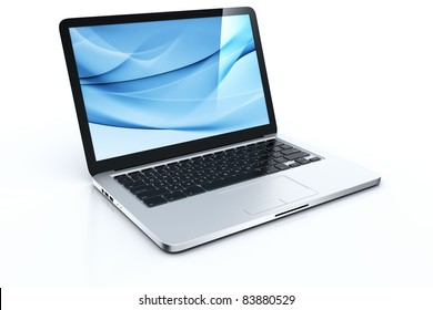 3d rendering of a laptop with blue graphics