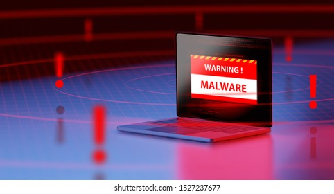 3d rendering of a 3d laptop Security warning detect malware and virus alert with wifi hotspot. oncept of privacy data being hacked and breached from internet technology threat.