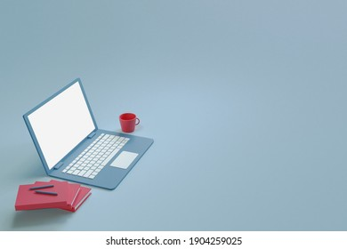 3D Rendering a laptop.minimal workplace concept. office interior.