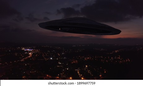 3D rendering, Large Alien spaceship sacuer ufo silhouette over city at sunset, , Drone view over Jerusalem with Large flying Sacuer Shadow silhouette, visual effect element, invasion sci fi concept