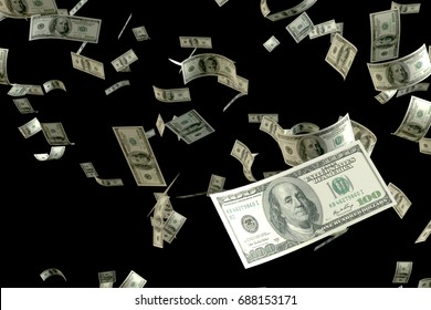 3D rendering large amount of money 100 USD bank note flying float in the air focusing on the nearest one