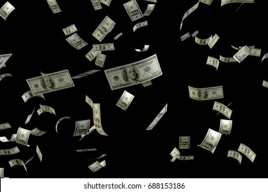 3D rendering large amount of money 100 USD bank note flying float in the air
