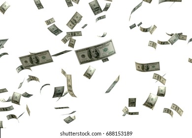 3D rendering large amount of money 100 USD bank note flying float in the air with white background