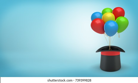 3d rendering of large black illusionist's hat with a red ribbon holds many colorful balloons tied with a string. Holidays and fun. Magic artists. Illusionists equipment.