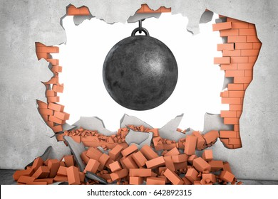 3d rendering of a large black wrecking ball hanging in a hole made in a brick wall with many bricks lying around. Window of opportunity. Destruction for progress. Drastic measures.