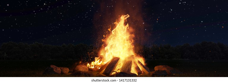3d rendering of large bonfire with sparks and particles in front of forest and starry sky
