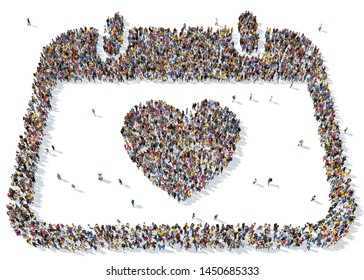 3D rendering: a large crowd of people gathered together in the form of love symbols