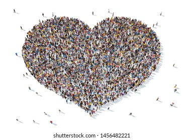 3D rendering: a large crowd of people gathered together in the form of love heart symbols