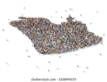 3D rendering: a large crowd of people gathered together in the form of the military symbol