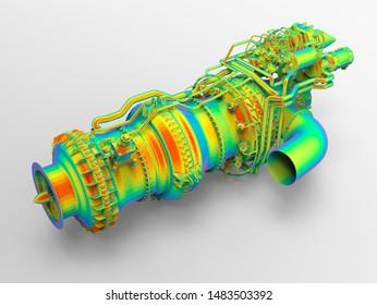 3D rendering large engine finite element analysis