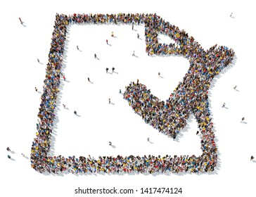 3d rendering: a large group of people gathered together as a popular icon symbol