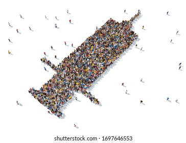 3d rendering: a large group of people gathered together as a medicare symbol