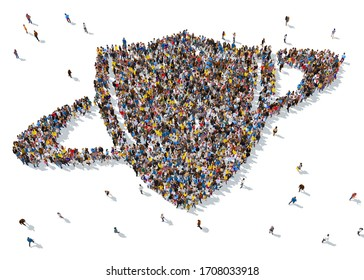3d rendering: a large group of people gathered together as a shield symbol