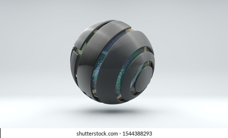 3D rendering of a large metal sphere consisting of many segments. Inside the sphere is a large transparent ball with an iridescent surface, liquid. Element of futuristic design, geometric abstraction.