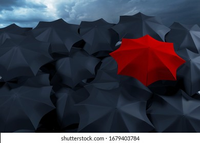 3D rendering of a large number of black umbrellas and one white against a stormy sky. Weather forecast - rains and showers.