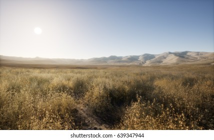 A 3d rendering of a large open field.