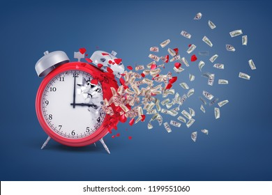 3d rendering of a large red retro alarm clock stands partially crumbled with its pieces turning into dollar bills. Time is money. Precious minutes. Getting paid for time.