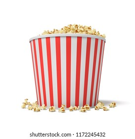 3d rendering of a large red and white bucket full of popcorn falling out of it on a white background. Supersize popcorn. Cinema food. Sweet and salty popcorn.