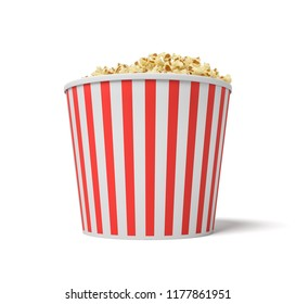 3d rendering of a large red and white bucket full of popcorn on a white background. Supersize popcorn. Cinema food. Sweet and salty popcorn.