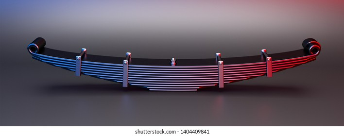 3d rendering. Leaf spring suspension of pick up car truck. Spare parts for truck heavy duty. Truck spring auto parts