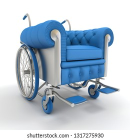 3D rendering of a leather club designer wheelchair