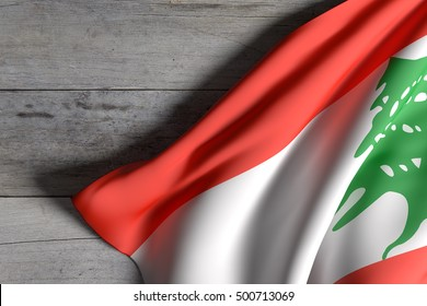 3d rendering of Lebanon flag waving on wooden background