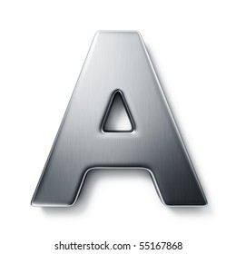 3d rendering of the letter A in brushed metal on a white isolated background.