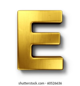 3d rendering of the letter E in gold metal on a white isolated background.