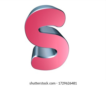 3d rendering of the letter S  on white background.