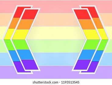 3d rendering. lgbt color trapezoid tile arrow panel on rainbow flag background.