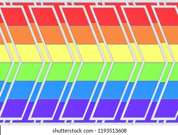 3d rendering. LGBT rainbow color trapezoid tile arrow shape panel pattern wall background.