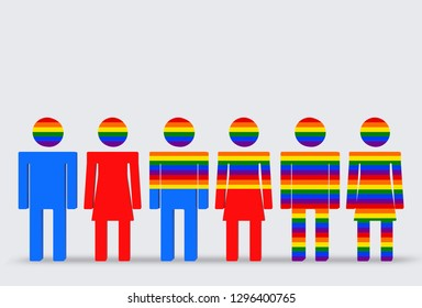 3d rendering. LGBT rainbow color flage covered on Head, halfa and full body of Blue male and red female symbol icon sign. Homosexuality and bisexuality in different populations concept.