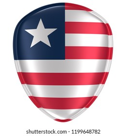 3d rendering of a Liberia flag icon on white background.