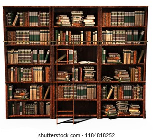 3d rendering library old books on shelves isolated