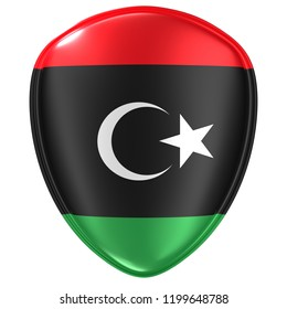 3d rendering of a Libya flag icon on white background.