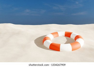 3d Rendering of life buoy on sand beach