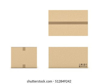 3d rendering of a light beige cardboard mail box taped with duct tape from different foreshortenings isolated on a white background. Postal services. Packing and crating. Storage of different products