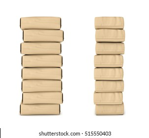 3d rendering of light beige cement sacks neatly stacked one upon another, side view and front view, isolated on the white background. Construction and repair. Building and Reconstruction. House