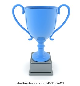 3D Rendering of light blue championship cup. 3D Rendering isolated on white.