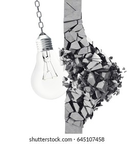 3d rendering light bulb, demolishing wall smithereens, concept of creative thinking and innovation.