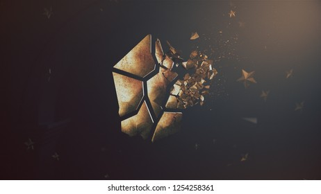 3D Rendering of lisk cryptocurrency crushing logo