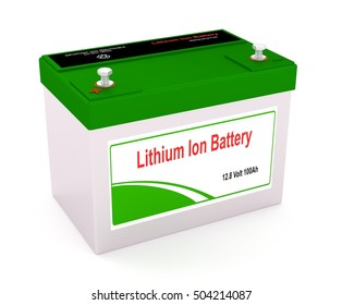 3D rendering of a Lithium Ion rechargeable battery
