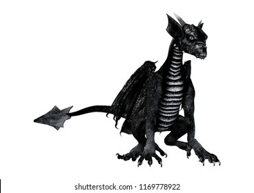 3D rendering of a little black dragon isolated on white background