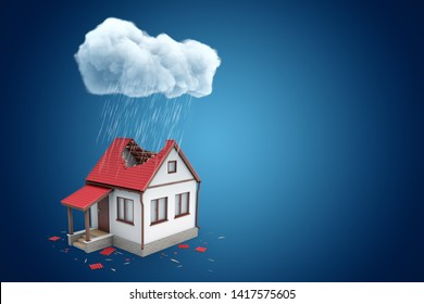3d rendering of little detached house with big hole in roof, standing under rainy cloud, on blue background with copy space. Climate and weather. Natural disasters. Loans and mortgage.