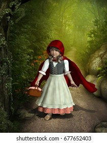 3D rendering of Little Red Riding Hood walking through an enchanted forest.